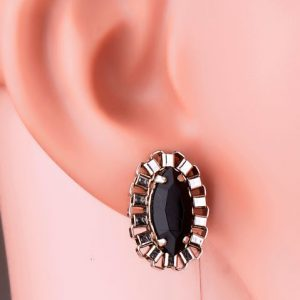 Black Crystal Studs (RJE481) -0