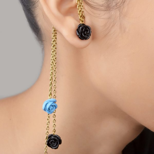 Blue Floral Earcuffs - (RJEC322)-0