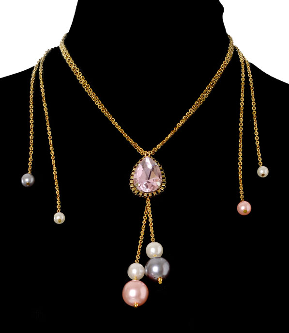 Pink Crystal Necklace (RJN846)-1041