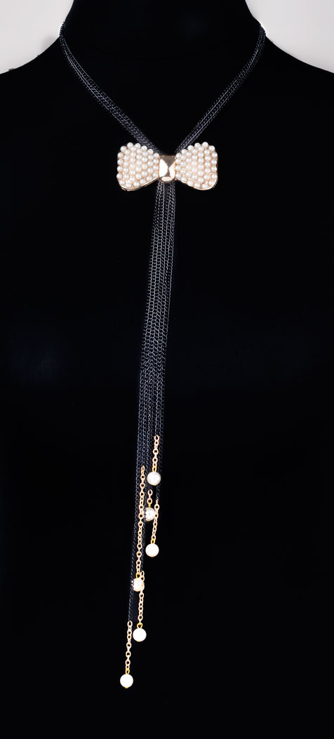 Pearly Bow Necklace (RJN893)-0